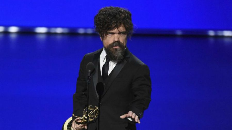 """Peter Dinklage accepts the award for outstanding supporting actor in a drama series for """"Game of Thrones"""" at the 71st Primetime Emmy Awards."""