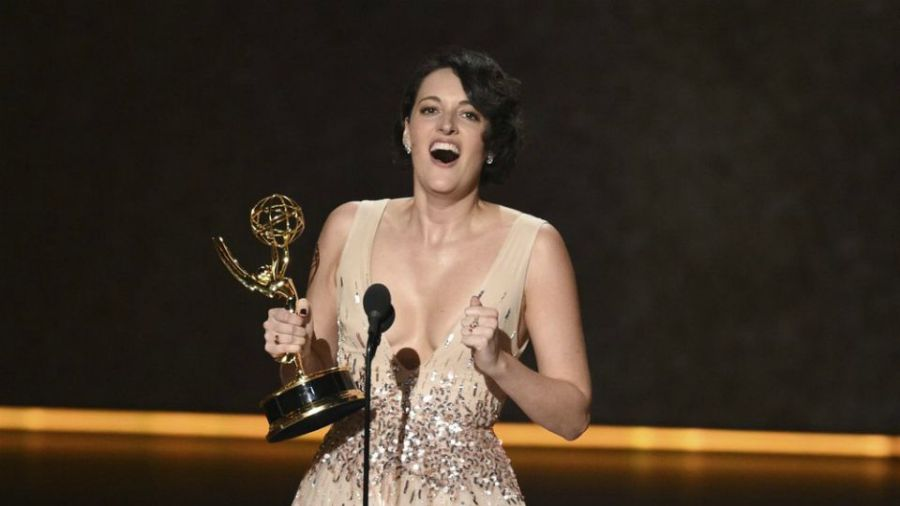 """Phoebe Waller-Bridge accepts the award for outstanding writing for a comedy series for """"Fleabag"""" at the 71st Primetime Emmy Awards."""