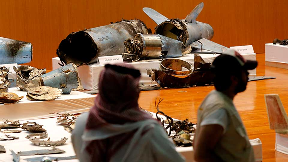 The Saudi military displays what they say are an Iranian cruise missile and drones used in recent attack on its oil industry at Saudi Aramco's facilities in Abqaiq and Khurais, during a press conference in Riyadh, Saudi Arabia, Wednesday, Sept. 18, 2019