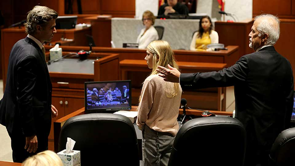 Defense attorney Charles H. Rittgers, right, gestures as Brooke Skylar Richardson is sentenced during a hearing, Friday, Sept. 13, 2019, in Lebanon, Ohio. Richardson, acquitted the day before of killing her newborn but convicted of corpse abuse, was sentenced to three years' probation, was sentenced to three years' probation. At left is defense attorney Charles M. Rittgers.