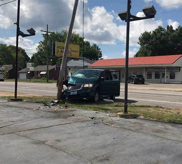 A utility pole was damaged Thursday after a crash at South Avenue and Mathews Road in Boardman.