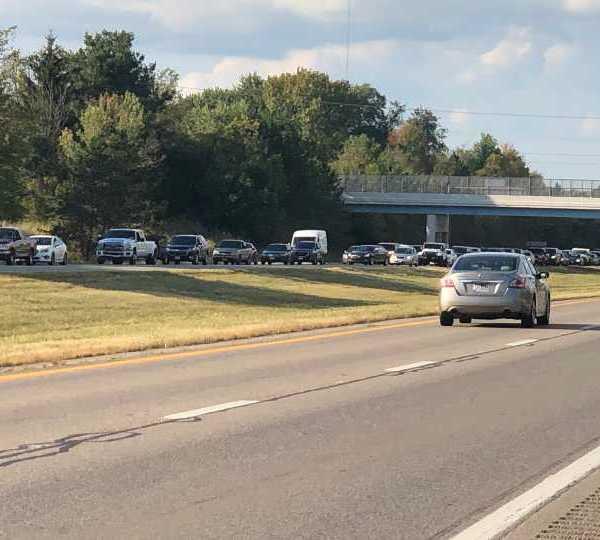 Traffic backed up along I-680 in Boardman
