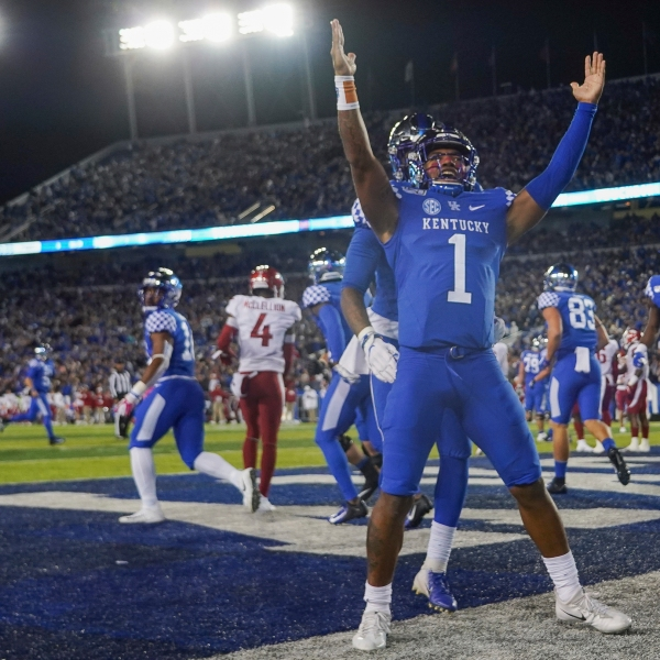 Kentucky quarterback Lynn Bowden Jr. (1) celebrates after scoring a touchdown during the first half of the team's NCAA college football game against Arkansas, Saturday, Oct. 12, 2019, in Lexington, Ky.