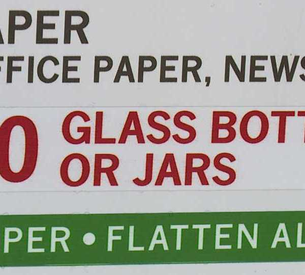 No glass recycling sign