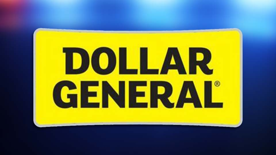The Dollar General logo in front of police lights.