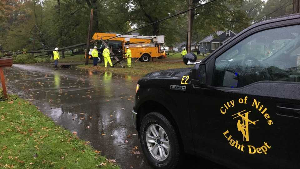 A tree branch came down on power lines in Niles, knocking out power in the area.