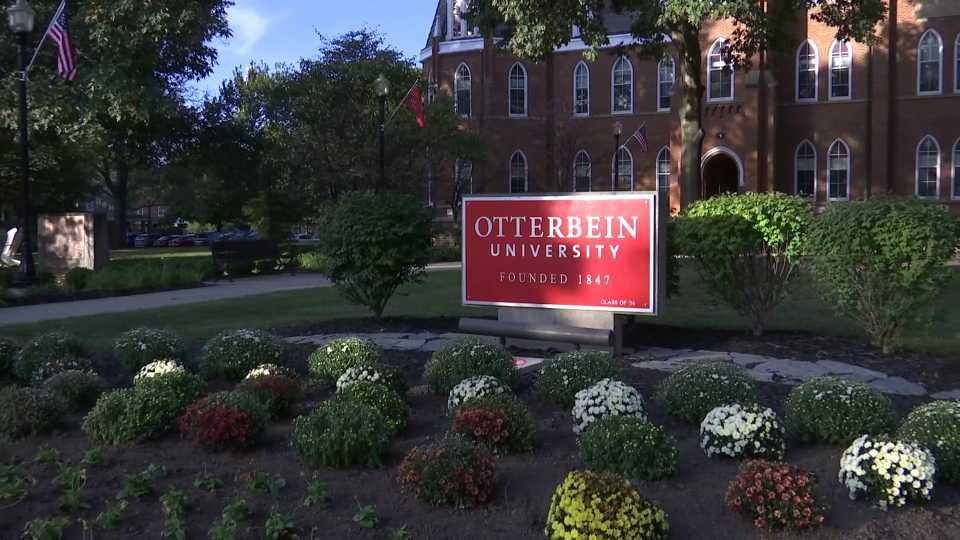 Sign at Otterbein University, where a democratic presidential debate will be held.