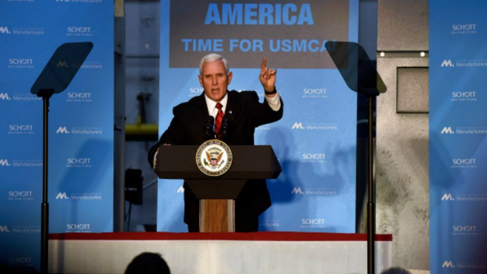 Vice President Mike Pence speaks at Schott Glass Co. in Duryea, Pa.