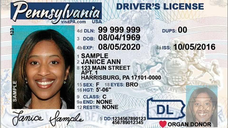 A generic driver license for the state of Pennsylvania.