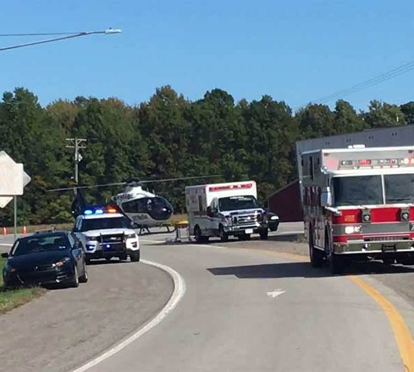 State Route 18 is closed in Transfer, Pennsylvania while police investigate a two-vehicle crash.