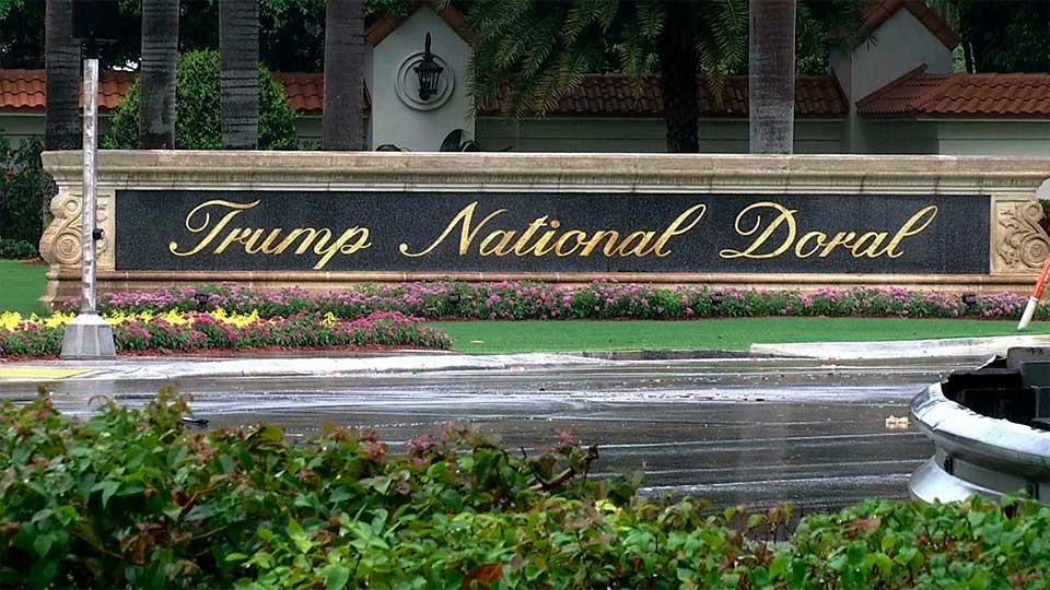 FILE - This June 2, 2017 file frame from video shows the Trump National Doral in Doral, Fla. The White House says it has chosen President Donald Trump's golf resort in Miami as the site for next year's Group of Seven summit.