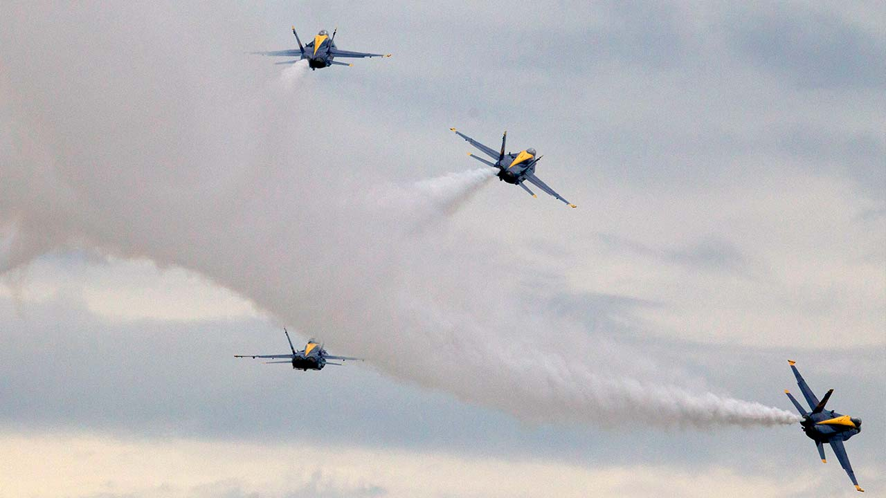 US Navy flight demonstration team, The Blue Angels.