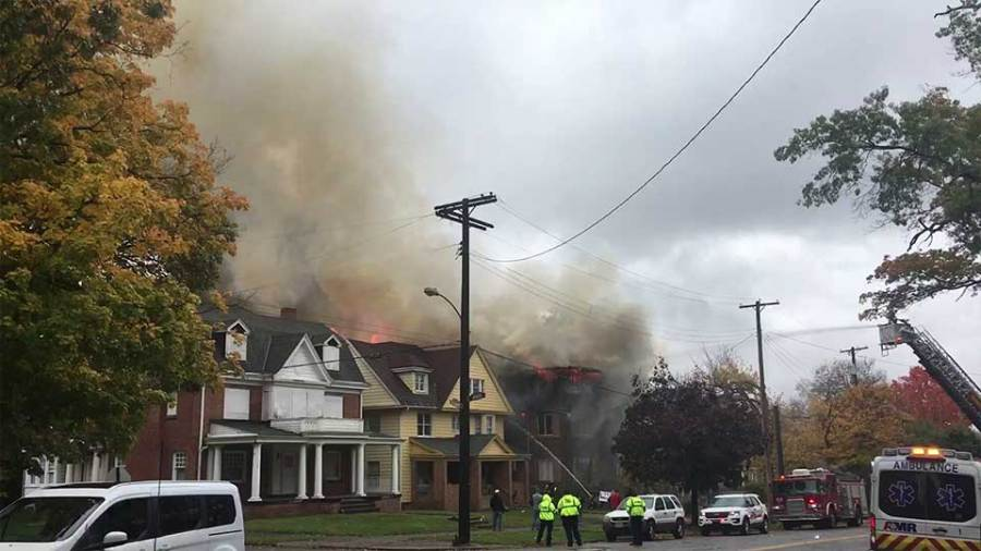 Crews are at a fire at a vacant three-story apartment complex on Broadway Avenue in Youngstown.