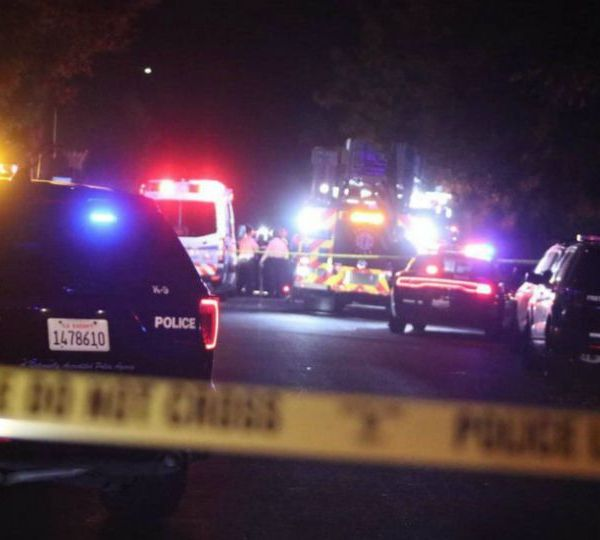 "Four people were killed and six more wounded when ""unknown suspects"" sneaked into a backyard filled with people at a party in central California and fired into the crowd, police said."