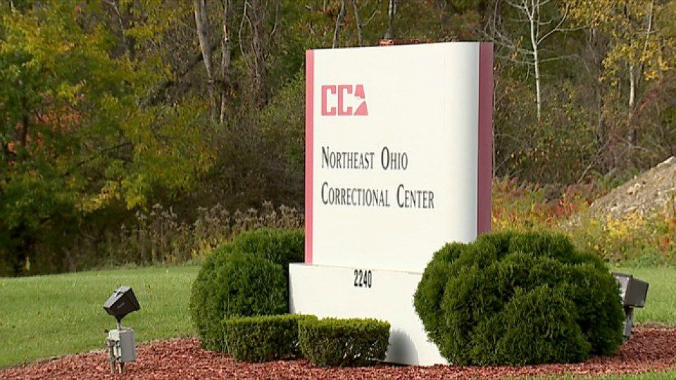 A prison guard is accused of having sex with an inmate at a Youngstown private prison.