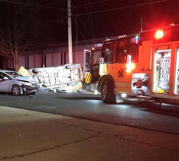 Rollover crash on Warren-Sharon Road in Vienna, Ohio.