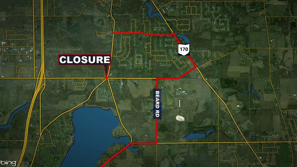Western Reserve, North Lima roundabout closure map.