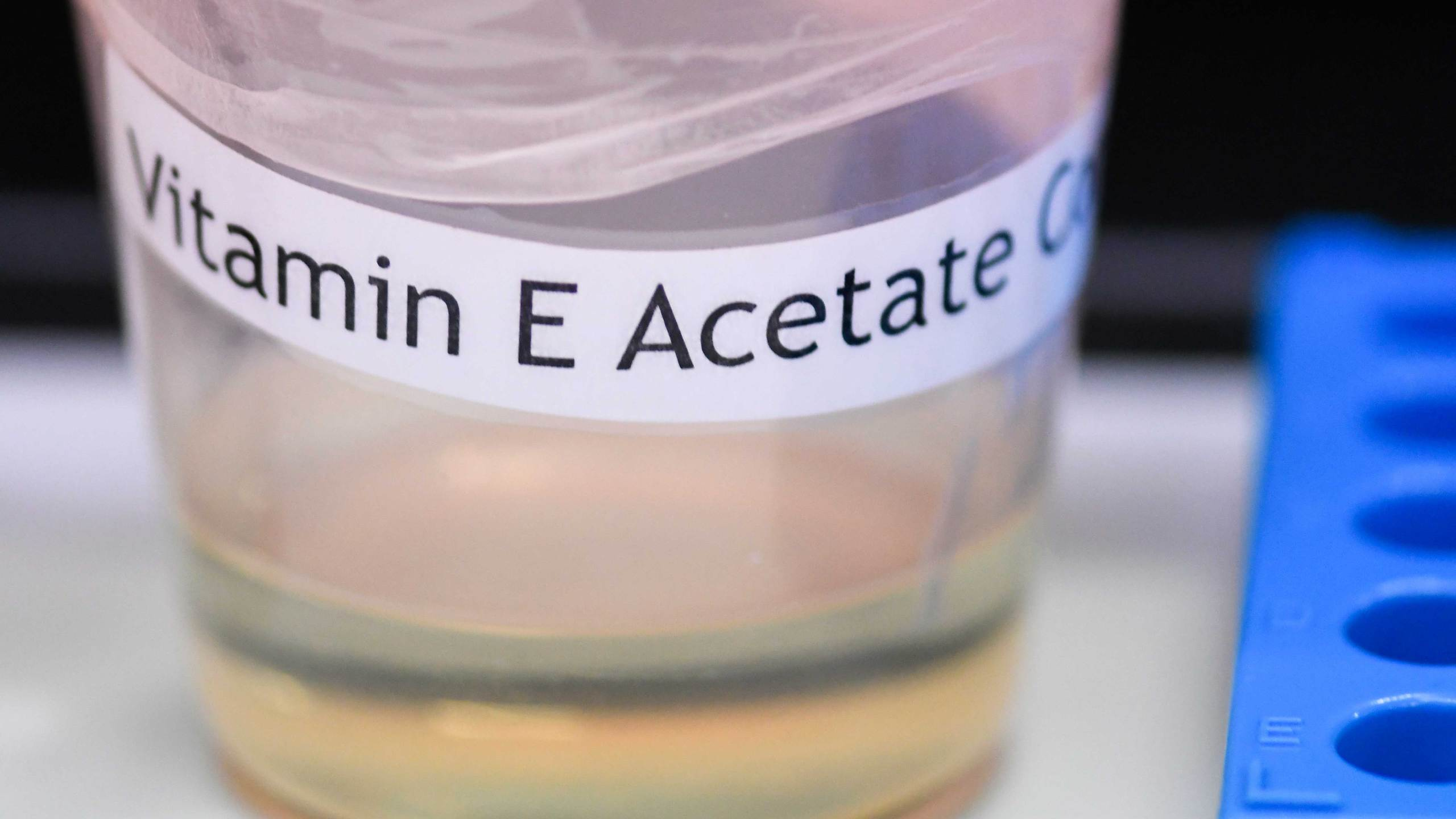 This Monday, Nov. 4, 2019 photo shows a vitamin E acetate sample during a tour of the Medical Marijuana Laboratory of Organic and Analytical Chemistry at the Wadsworth Center in Albany, N.Y. On Friday, Nov. 8, 2019, the Centers for Disease Control and Prevention in Atlanta said fluid extracted from 29 lung injury patients who vaped contained the chemical compound in all of them.
