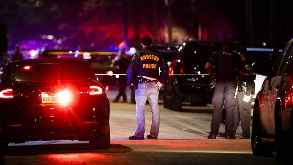 Houston Police Department at shooting scene