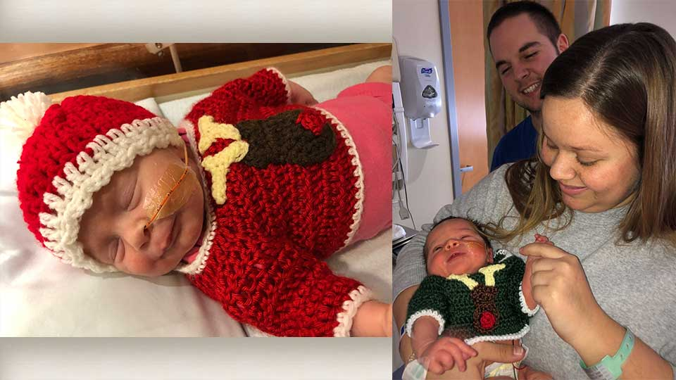 Babies in the local NICU and Special Care Nursery are decked out for the holidays, thanks to a knitting group.