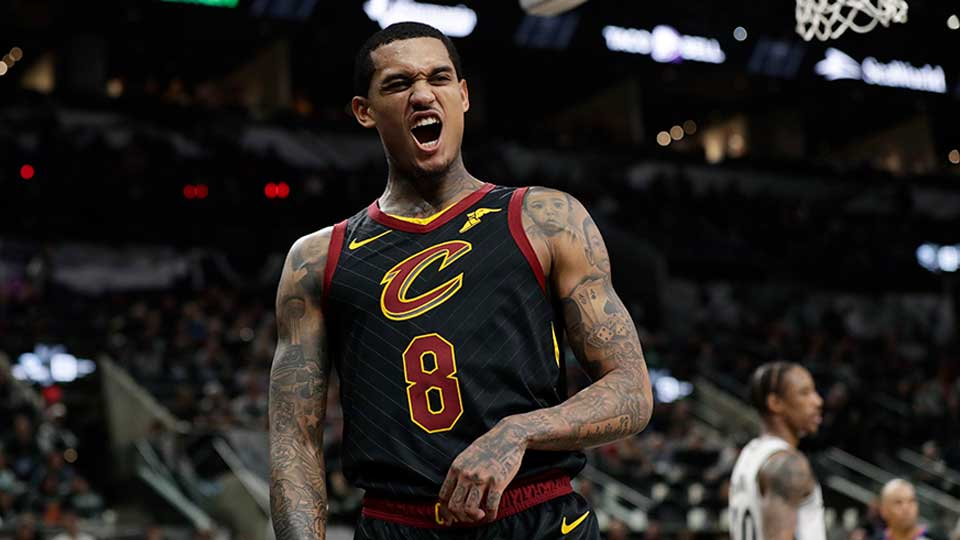 Cleveland Cavaliers guard Jordan Clarkson (8) reacts after a play during the second half of an NBA basketball game against the San Antonio Spurs, in San Antonio, Thursday, Dec. 12, 2019.
