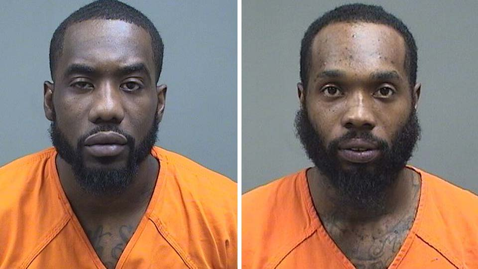 Ramon Cooper, arrested on drug charges, and O'Keefe Brown, arrested on tampering with evidence charges, in Youngstown.