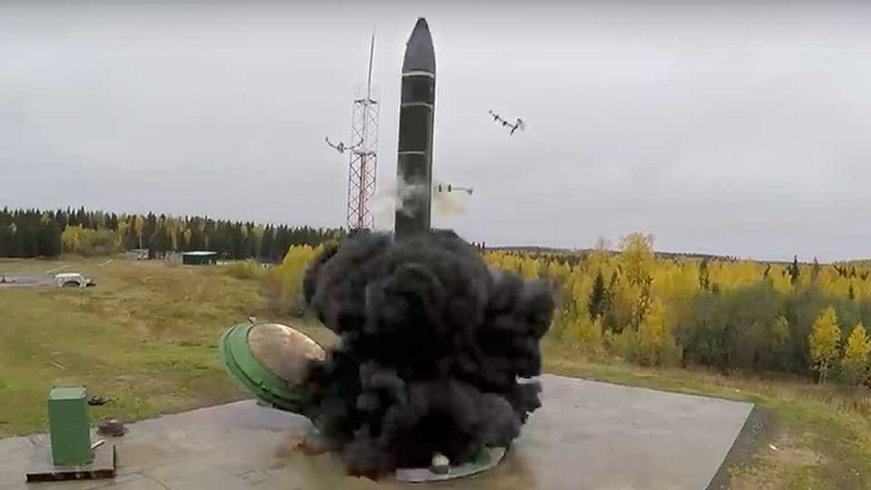 In this photo taken from undated footage distributed by Russian Defense Ministry Press Service, an intercontinental ballistic missile lifts off from a silo somewhere in Russia. The Russian military said the Avangard hypersonic weapon entered combat duty on Friday. The Kremlin has made modernization of Russia's strategic nuclear forces one of its top priorities.