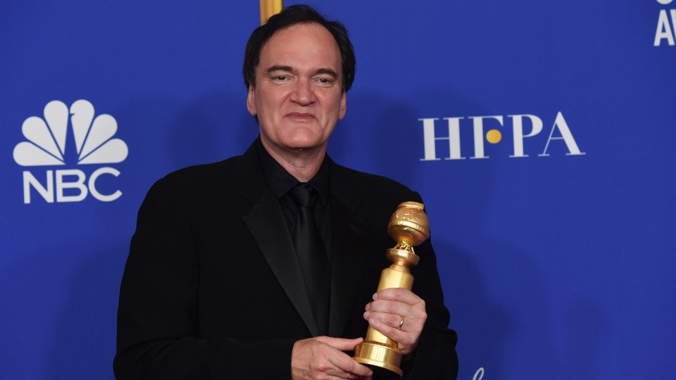 "Quentin Tarantino, winner of the award for best director, motion picture, for ""Once Upon a Time...in Hollywood,"" poses in the press room at the 77th annual Golden Globe Awards at the Beverly Hilton Hotel."