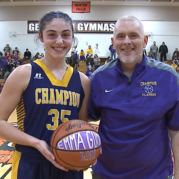 Champion junior Emma Gumont passed 1,000 career points Saturday, but Newton Falls came away with a 44-39 victory.