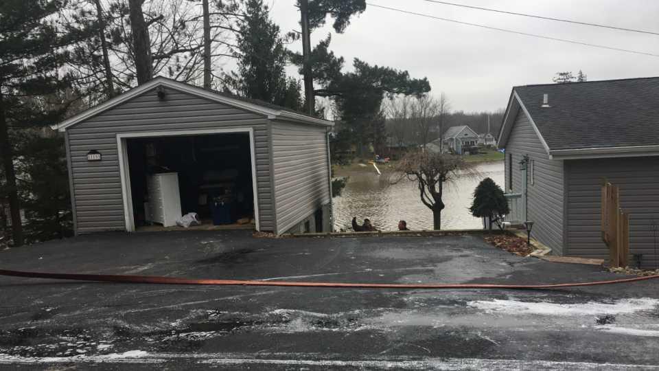 Ellsworth Township garage fire.