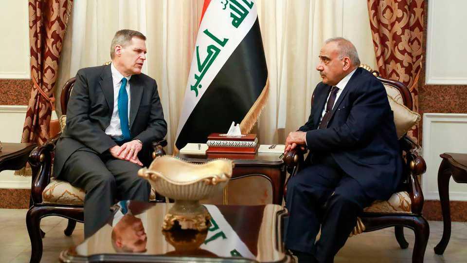Iraqi Prime Minister Adil Abdul-Mahdi, U.S. Ambassador Matthew Tueller