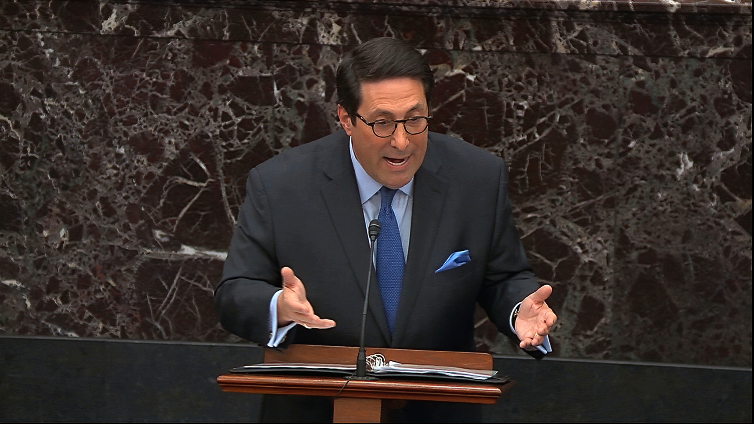 In this image from video, personal attorney to President Donald Trump, Jay Sekulow, speaks during the impeachment trial against President Donald Trump in the Senate at the U.S. Capitol in Washington, Tuesday, Jan. 28, 2020.