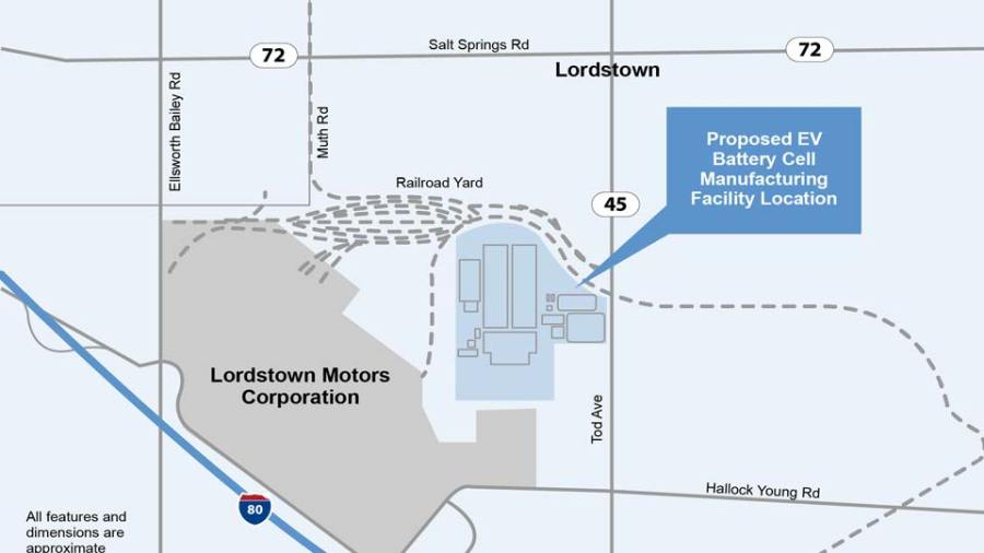 Lordstown Battery Plant Site Map