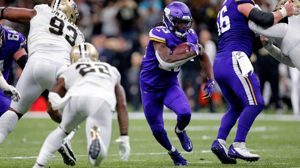 Minnesota Vikings running back Dalvin Cook (33) carries in the first half of an NFL wild-card playoff football game against the New Orleans Saints, Sunday, Jan. 5, 2020, in New Orleans.