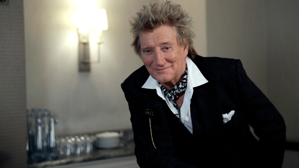 In this photo taken on Thursday, Nov. 14, 2019, British singer Rod Stewart poses for the media after an interview with The Associated Press at a hotel in London.
