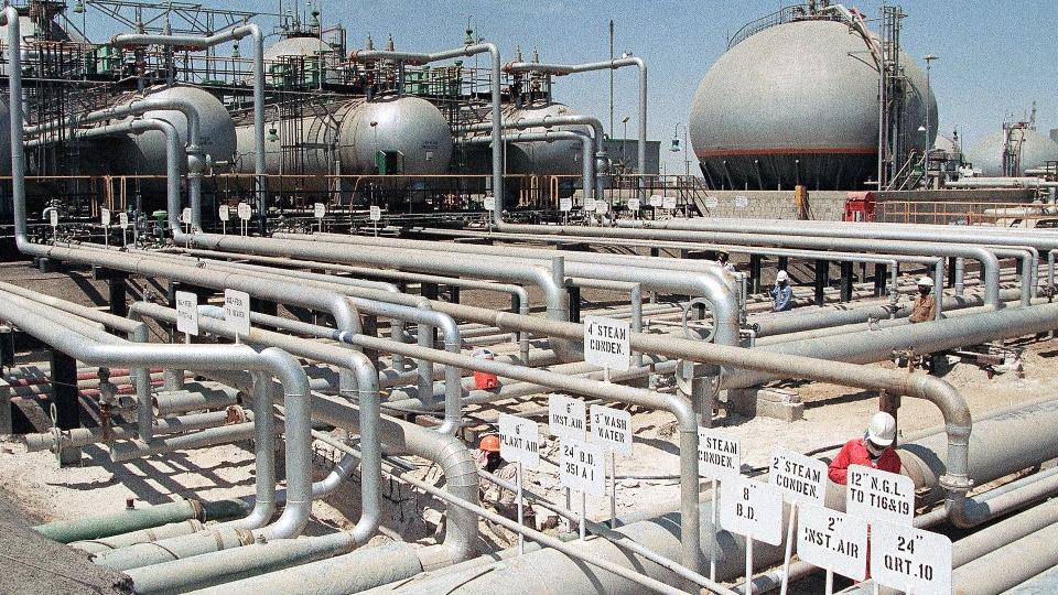 In this file photo dated 1990, Aramco refinery at Ras Tannura, Saudi Arabia.