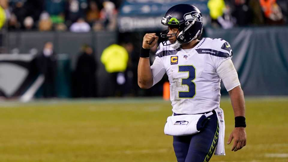 Seattle Seahawks' Russell Wilson reacts during the second half of an NFL wild-card playoff football game against the Philadelphia Eagles, Sunday, Jan. 5, 2020, in Philadelphia.