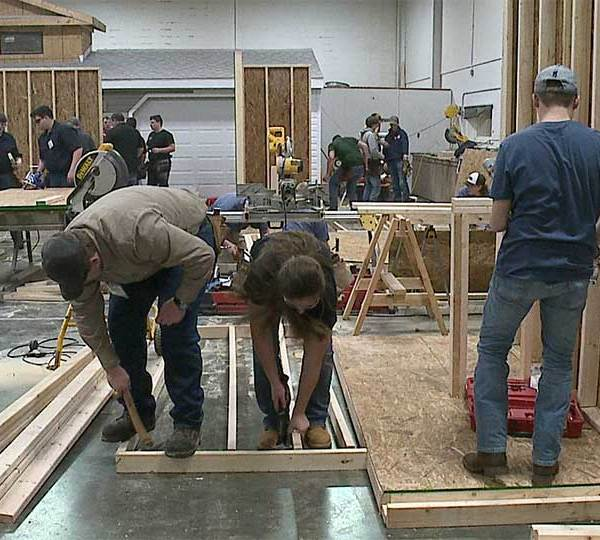 The Skills USA Competition was happening inside the New Castle School of Trades.