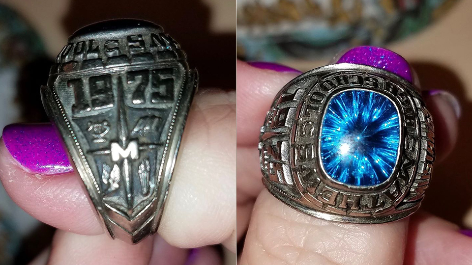 The owner of a 1975 class ring from Mathews Schools has the ring back after 45 years, thanks to a Cleveland woman and help from the Vienna Historical Society.
