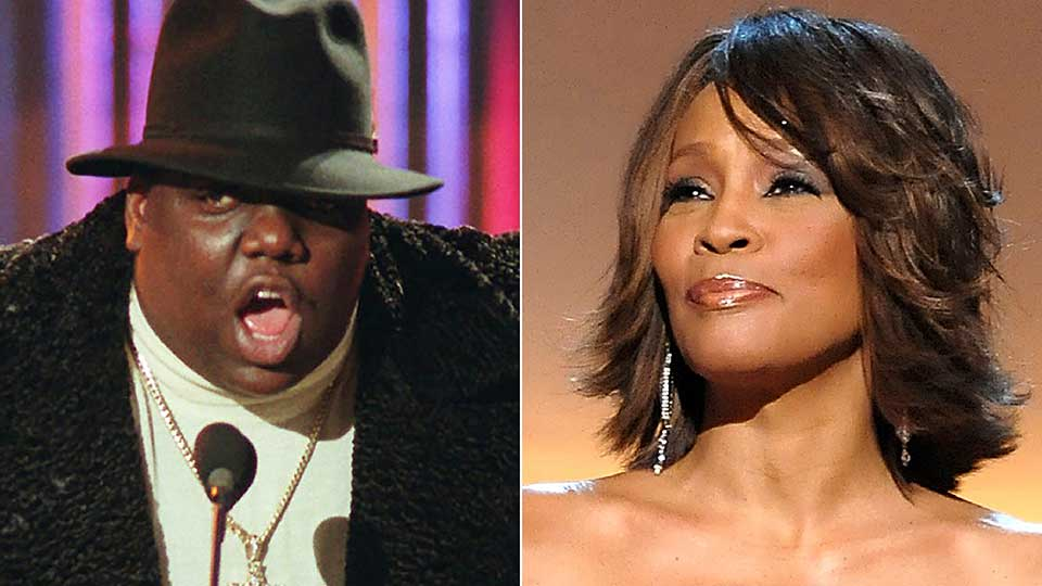 This combination photo shows Notorious B.I.G., who won rap artist and rap single of the year, during the annual Billboard Music Awards in New York on Dec. 6, 1995, left, and singer Whitney Houston at the BET Honors in Washington on Jan. 17, 2009. The pair will be inducted into the Rock and Roll Hall of Fame's 2020 class.