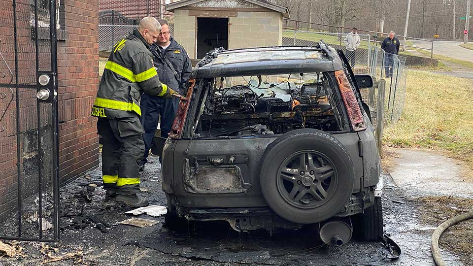 Youngstown firefighters stopped a fire in an SUV from catching a 405 Drake Ave. home on fire around noon Friday.
