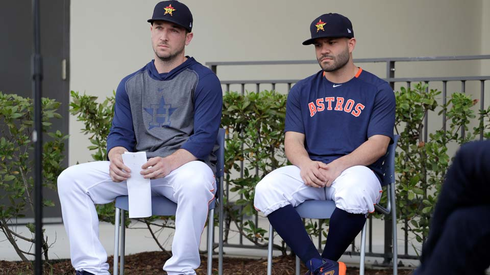 Houston Astros infielder Alex Bregman, left, and teammate Jose Altuve
