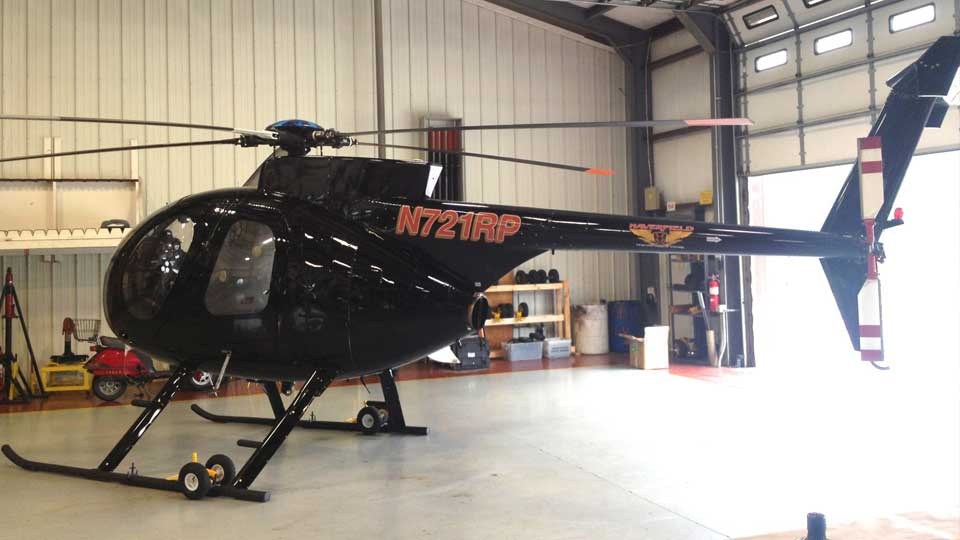 Hughes MD500 helicopter to check Ohio Edison transmission lines in Columbiana