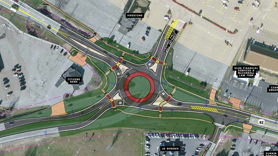 Hermitage roundabout construction map.