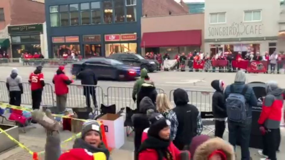 A police chase disrupts the Super Bowl victory parade in Kansas City, Missouri.