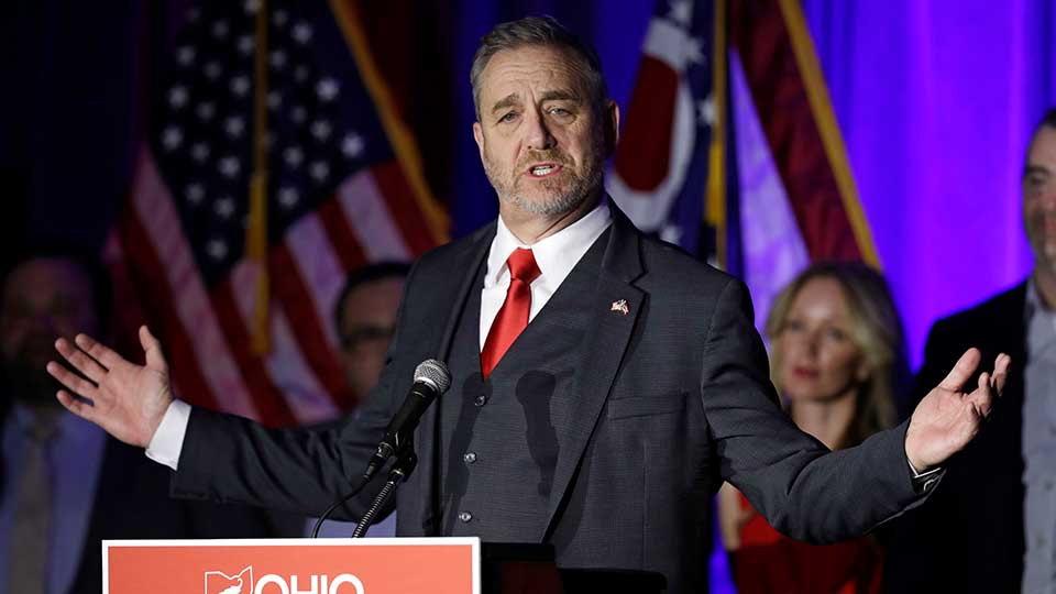 Dave Yost speaks at the Ohio Republican Party event, Tuesday, Nov. 6, 2018, in Columbus, Ohio.