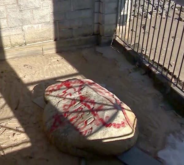 The iconic Plymouth Rock in Plymouth, Massachusetts, was vandalized.