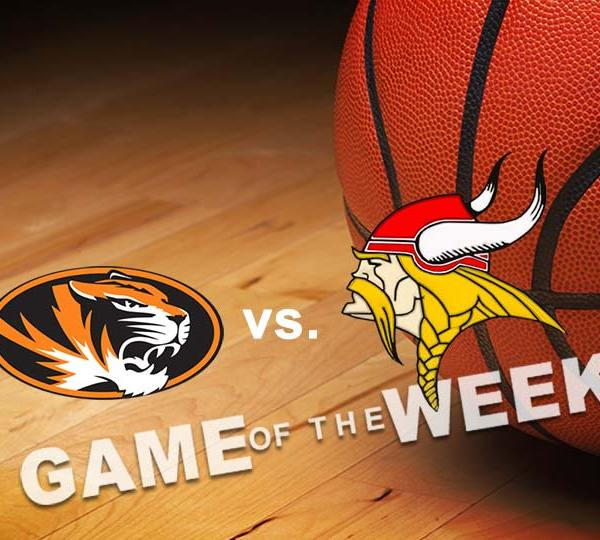 Springfield Tigers vs. LaBrae Vikings High School Basketball Game of the Week basketball graphic