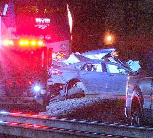 A car and a train collided in Columbiana on Sunday