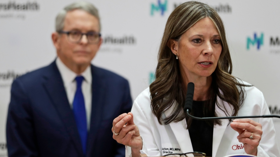 Ohio Department of Health Director Amy Acton gives an update at MetroHealth Medical Center Thursday.